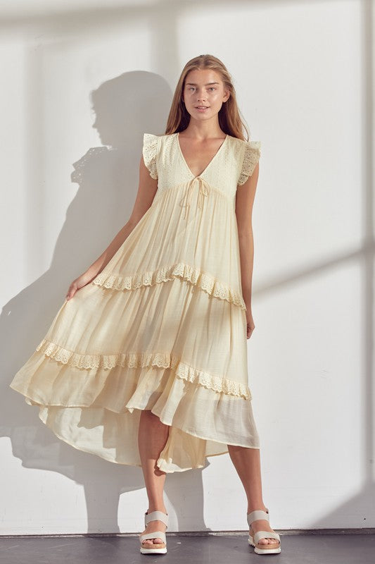 Sweetheart Neckline Tie Dress with Scallop Edges