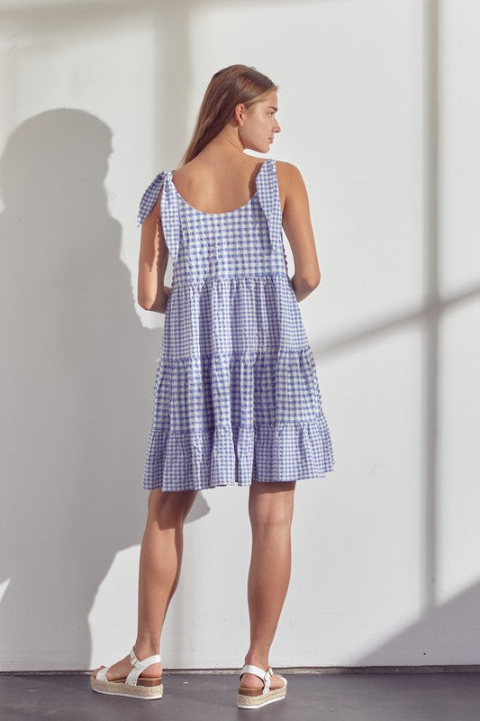 Gingham Pullover Dress with Scoop Neckline