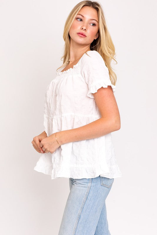 Short Sleeve Ruffle Top