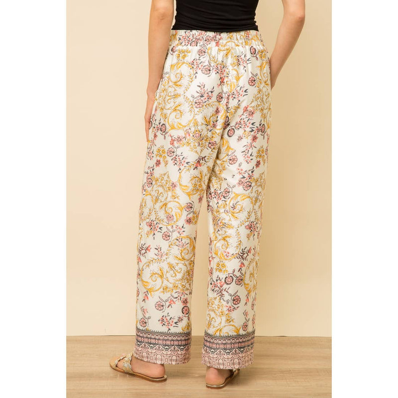 Drawstring Border Print Pants -  ShopatGrace.com