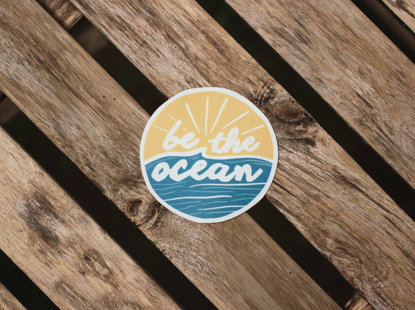 Be The Ocean All Weather Sticker - OS / Gold/Ocean ShopatGrace.com