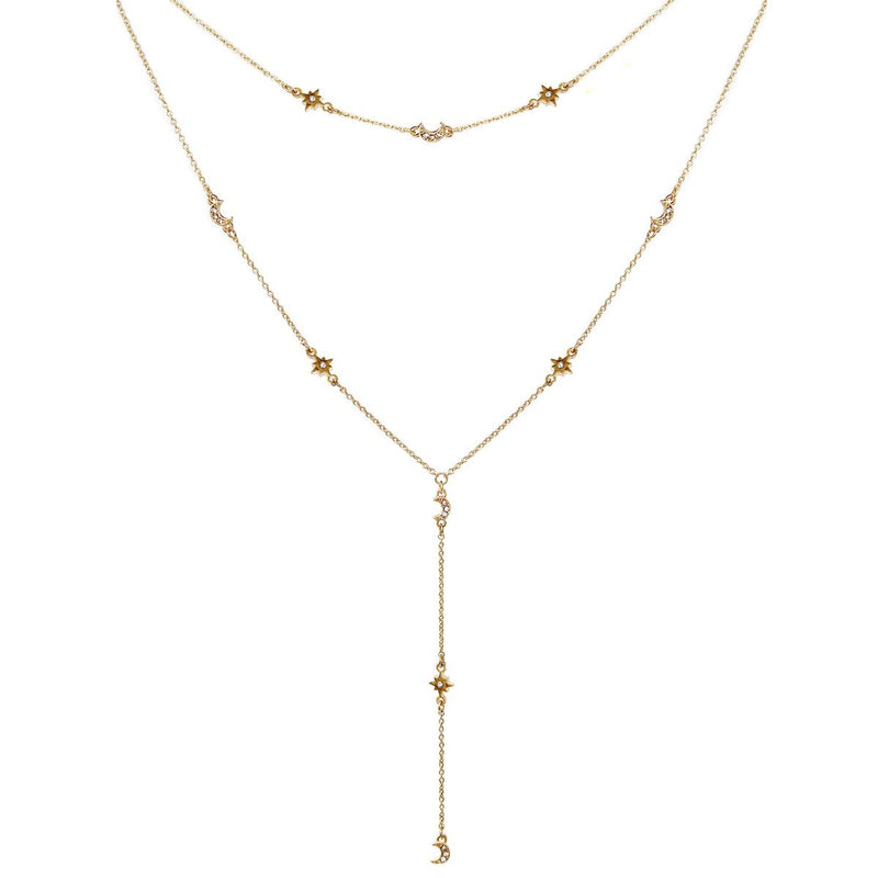 Star & Moon Lariat Necklace -  ShopatGrace.com