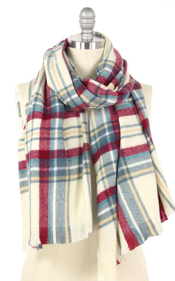 Blue and Maroon Plaid Scarf -  ShopatGrace.com