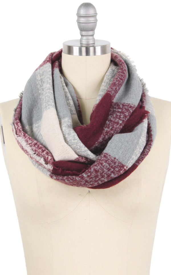 Plaid Check Infinity Scarf - OS / BURGUNDY ShopatGrace.com