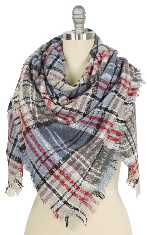 Plaid Square Blanket Scarf - OS / GREY ShopatGrace.com