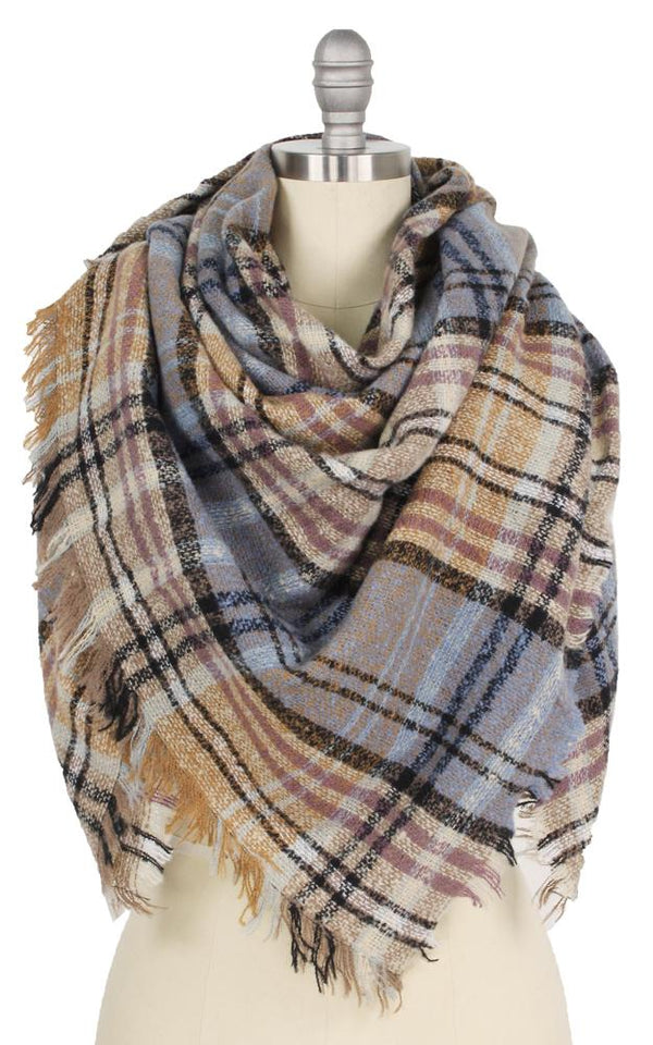 Plaid Square Blanket Scarf - OS / TAUPE ShopatGrace.com
