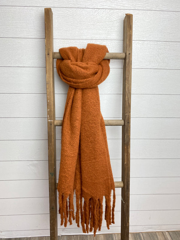 Solid Brushed Tassel Scarf - OS / RUST ShopatGrace.com