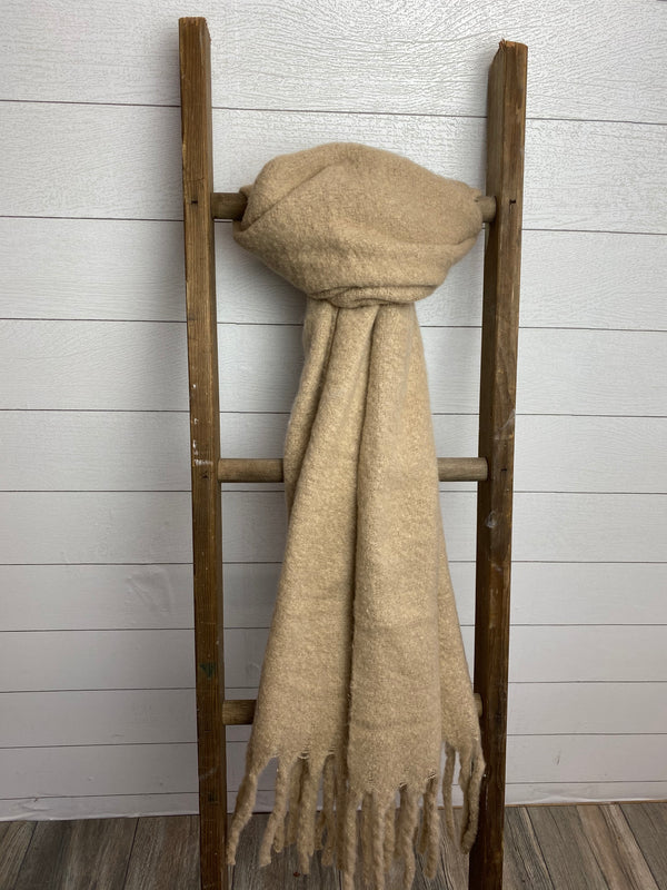 Solid Brushed Tassel Scarf - OS / OATMEAL ShopatGrace.com