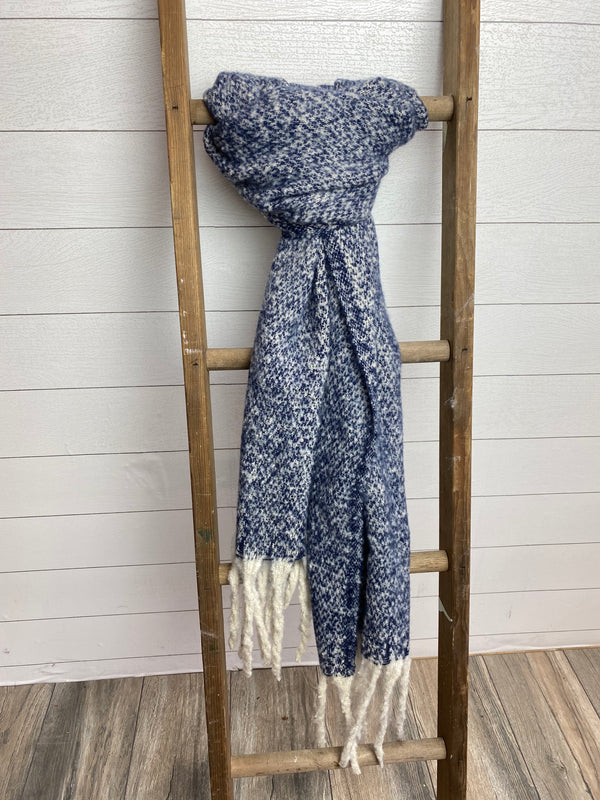 Heather Brushed Fringed Scarf - NAVY / OS ShopatGrace.com