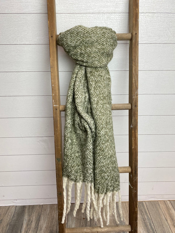 Heather Brushed Fringed Scarf - OLIVE / OS ShopatGrace.com