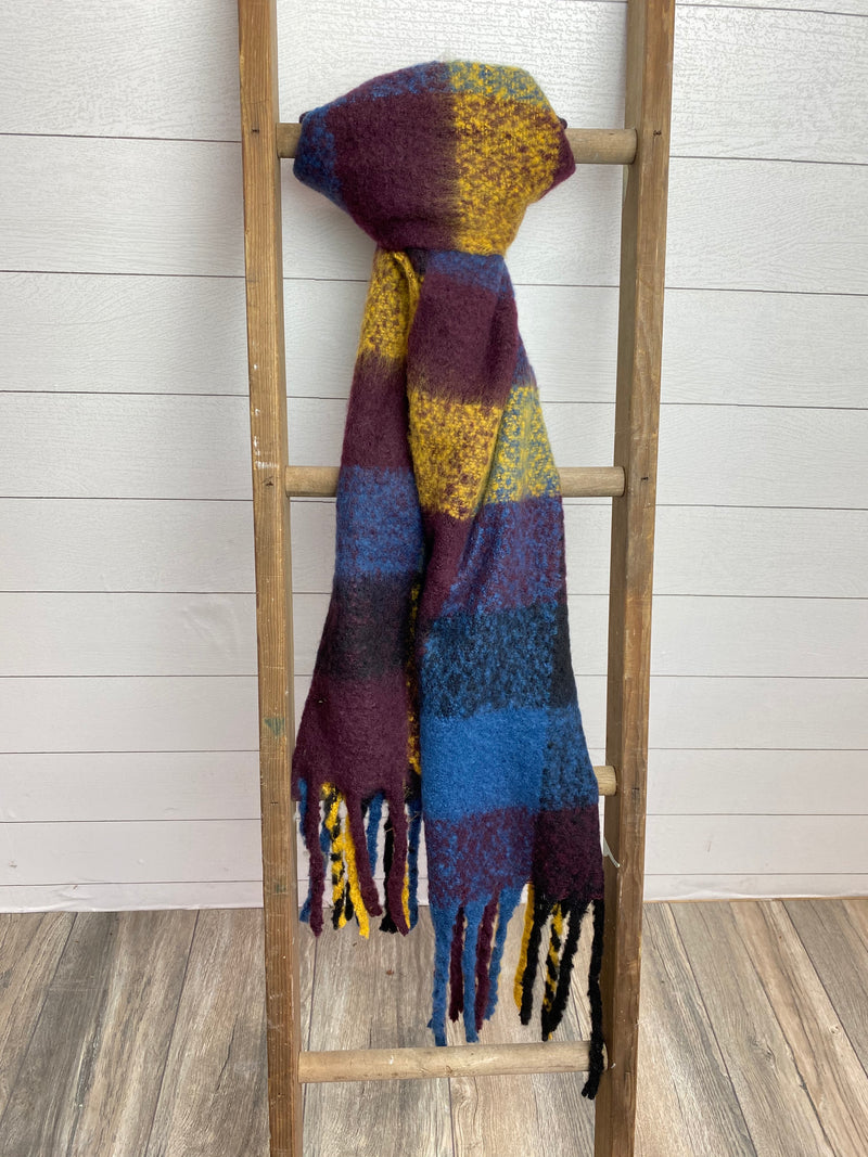 Brushed Tassel Scarf - NAVY/RUST/YELLOW / OS ShopatGrace.com