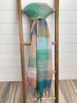 Brushed Tassel Scarf - BLUSH/TEAL / OS ShopatGrace.com