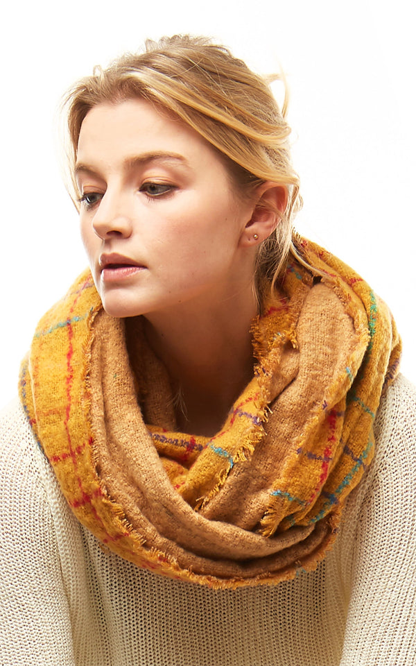 Multi Color Windowpane Infinity Scarf - OS / MUSTARD ShopatGrace.com