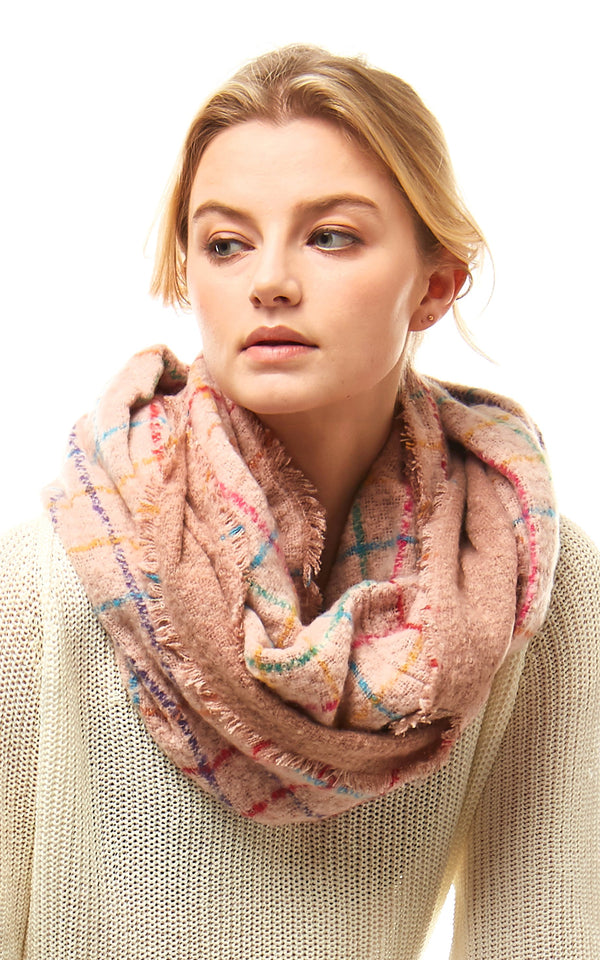 Multi Color Windowpane Infinity Scarf - OS / PINK ShopatGrace.com