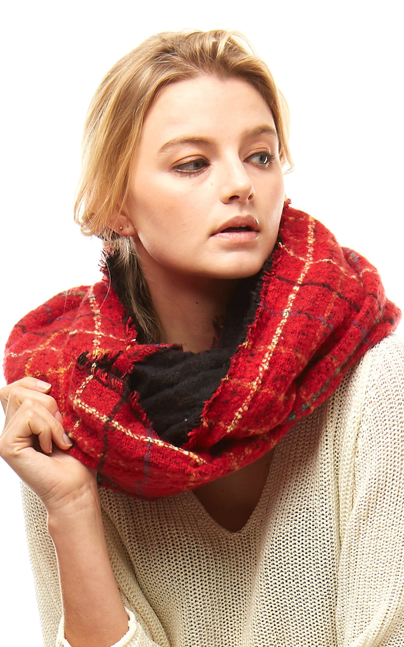 Multi Color Windowpane Infinity Scarf - OS / RED ShopatGrace.com