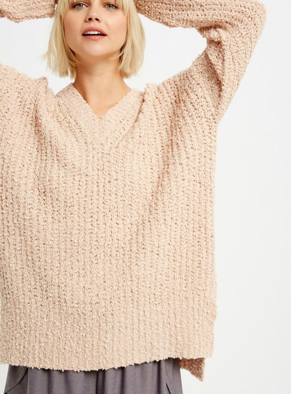 Popcorn V-Neck Pullover Sweat -  ShopatGrace.com