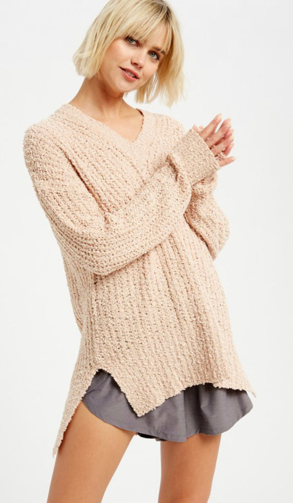 Popcorn V-Neck Pullover Sweat - CREAM / S ShopatGrace.com