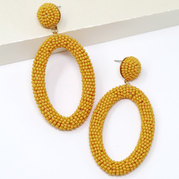 Seed Beaded Oval Hoop Earrings - OS / Mustard ShopatGrace.com