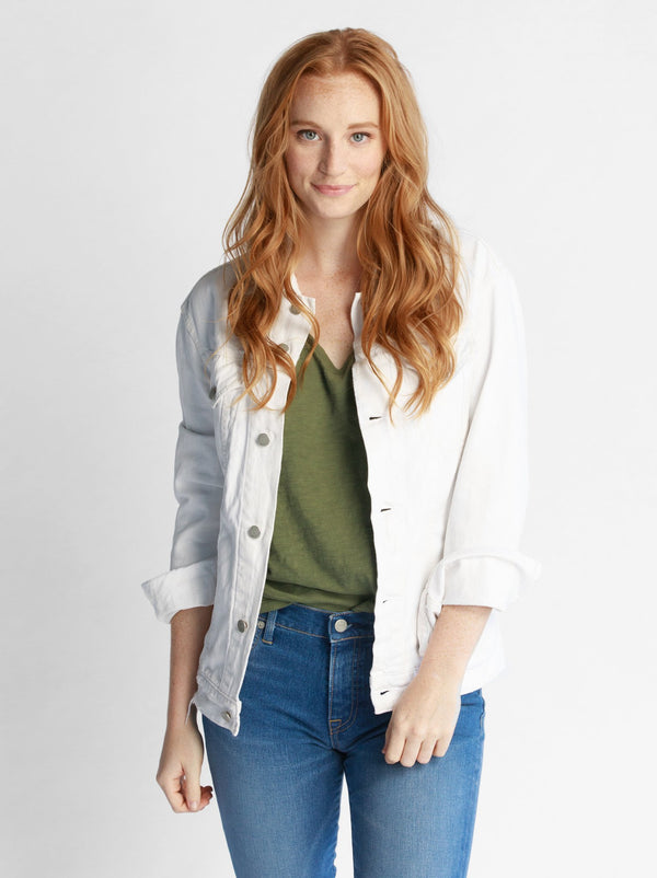 Able Distressed White Denim Jacket -  ShopatGrace.com