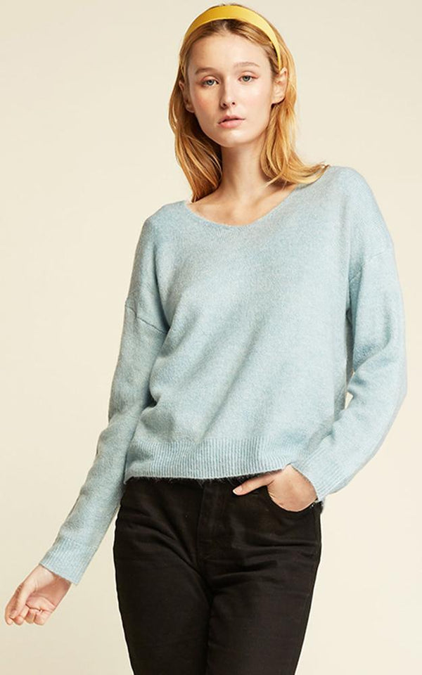 Basic V-Neck Sweater - OS / BABY BLUE ShopatGrace.com