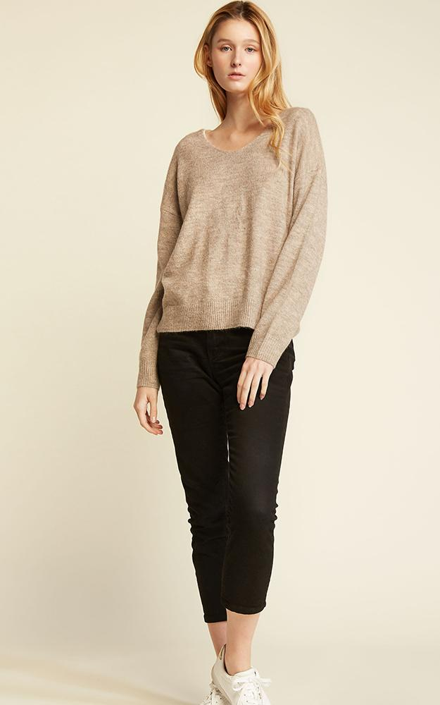 Basic V-Neck Sweater - OS / BEIGE ShopatGrace.com