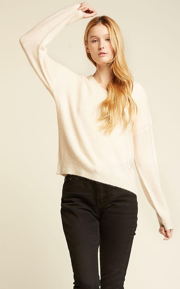 Basic V-Neck Sweater - OS / IVORY ShopatGrace.com