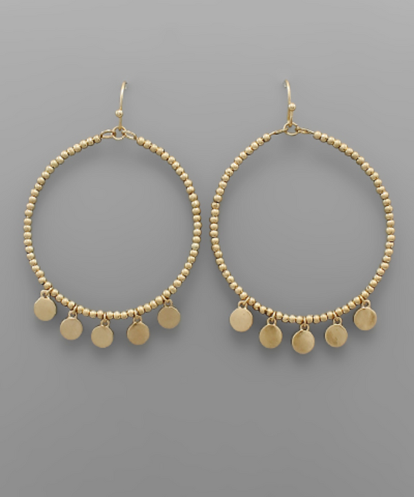 Disc Beaded Dangle Earrings