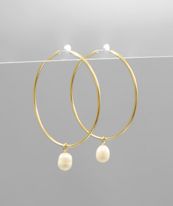Hoop Earrings w/Pearl -  ShopatGrace.com