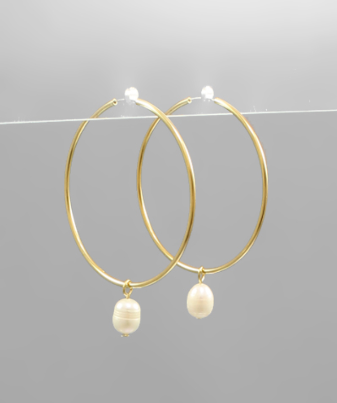 Hoop Earrings w/Pearl