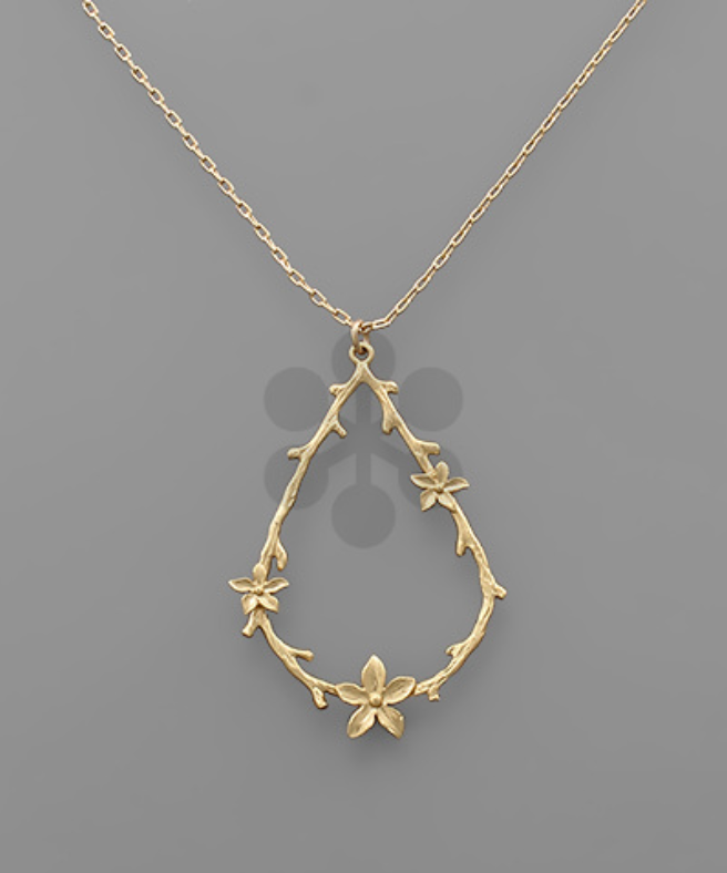 Branch Tear Drop Necklace