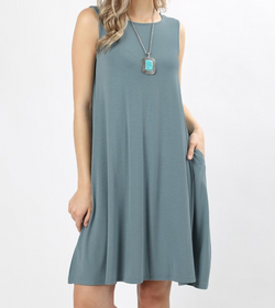 Sleeveless Dress with Straight Hem - Blue Grey / S ShopatGrace.com