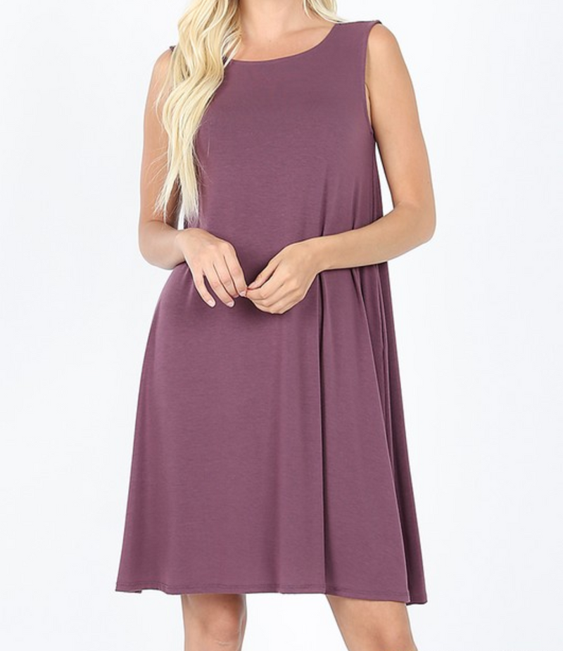 Sleeveless Dress with Straight Hem - Eggplant / S ShopatGrace.com