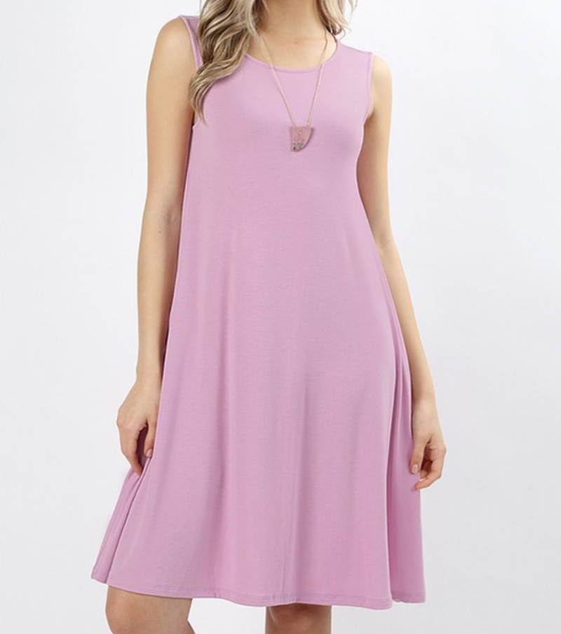 Sleeveless Dress with Straight Hem - Mauve / S ShopatGrace.com