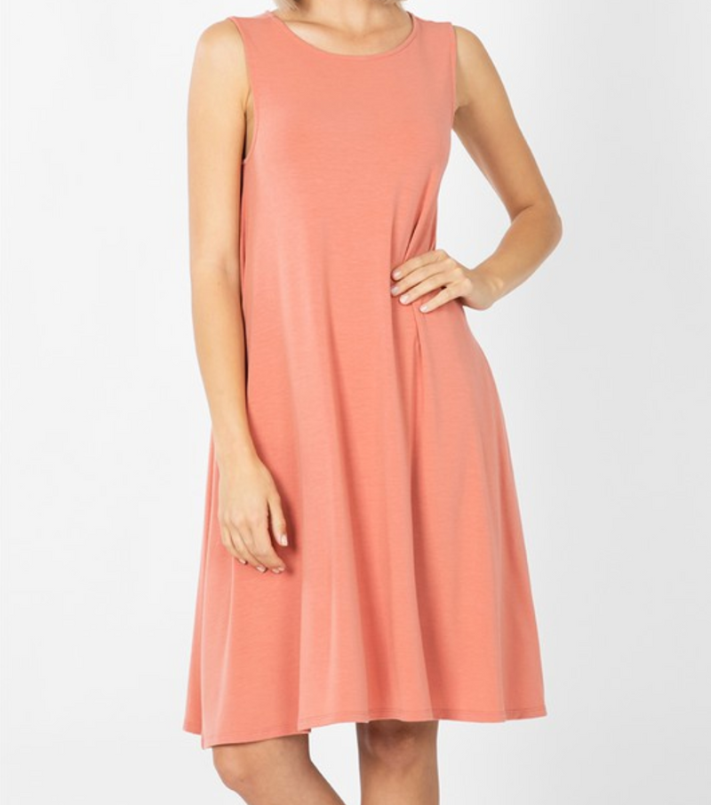 Sleeveless Dress with Straight Hem - Ash Rose / S ShopatGrace.com