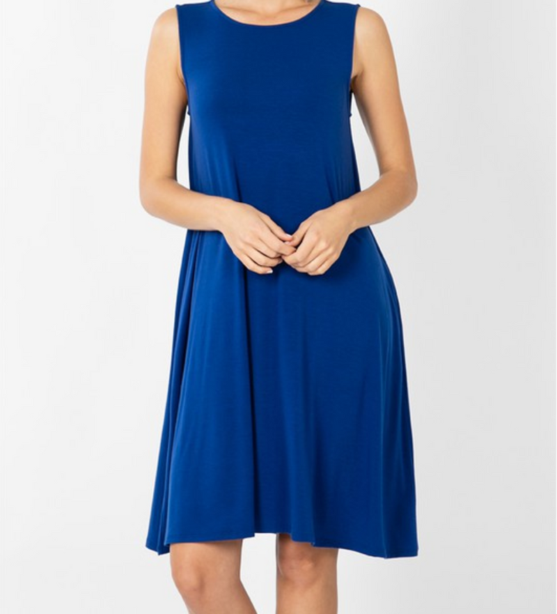 Sleeveless Dress with Straight Hem - Mid Navy / S ShopatGrace.com