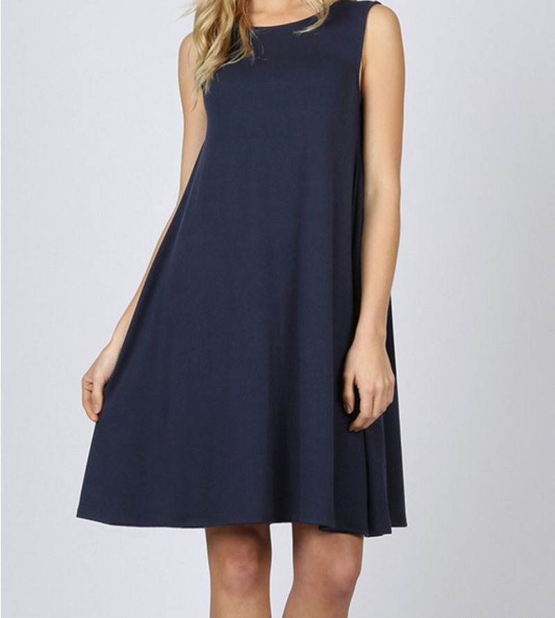 Sleeveless Dress with Straight Hem - Navy / S ShopatGrace.com