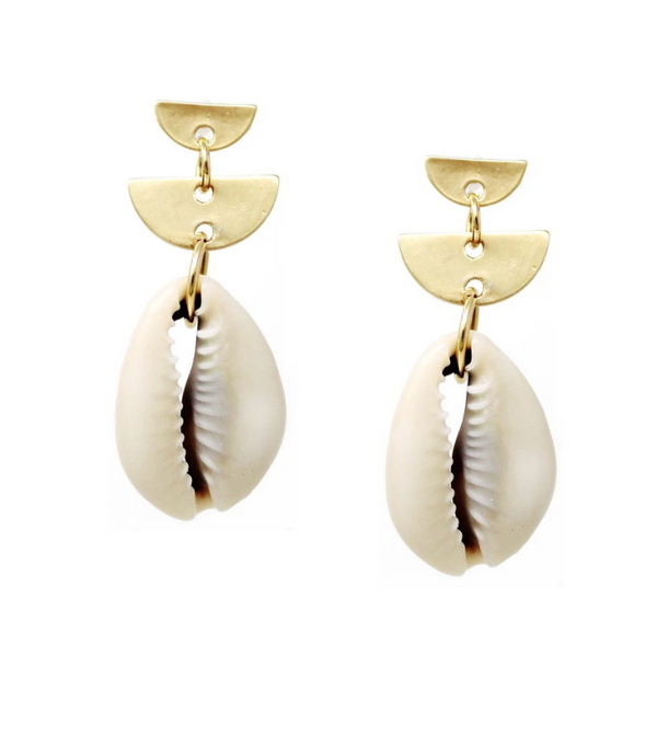 Half Disc Puka Shell Drop Earring -  ShopatGrace.com