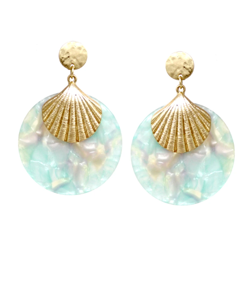 Acetate Shell Drop Earrings - Mint ShopatGrace.com