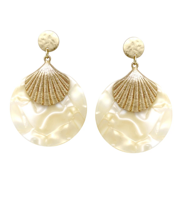 Acetate Shell Drop Earrings - Ivory ShopatGrace.com