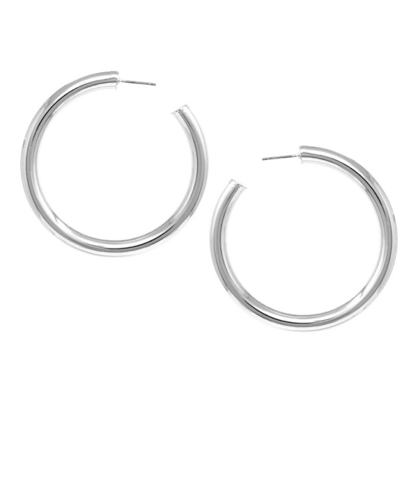 Thick Pipe Metal Hoop Earrings -  ShopatGrace.com