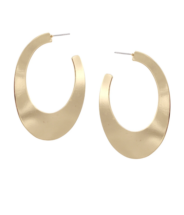 Oval Flat Metal Hoops - Gold ShopatGrace.com