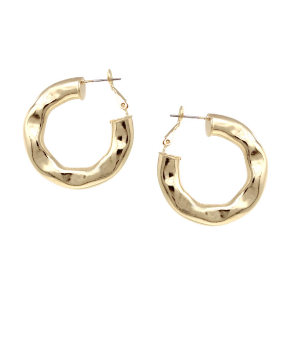 Hammered Metal Hoop Earrings -  ShopatGrace.com