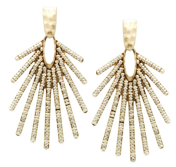 Seed Beaded Fringe Drop Earrings -  ShopatGrace.com