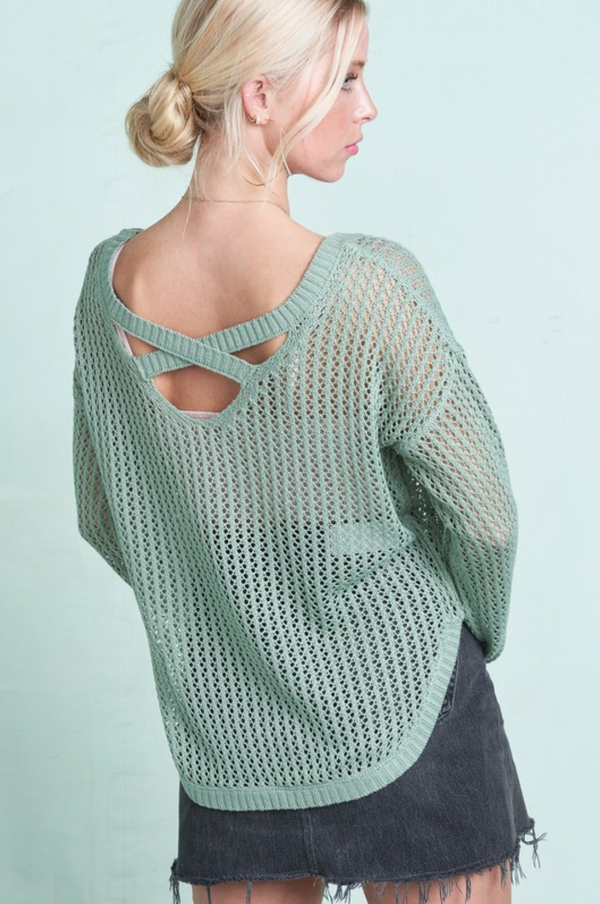 Criss Cross Back Lightweight Sweater -  ShopatGrace.com