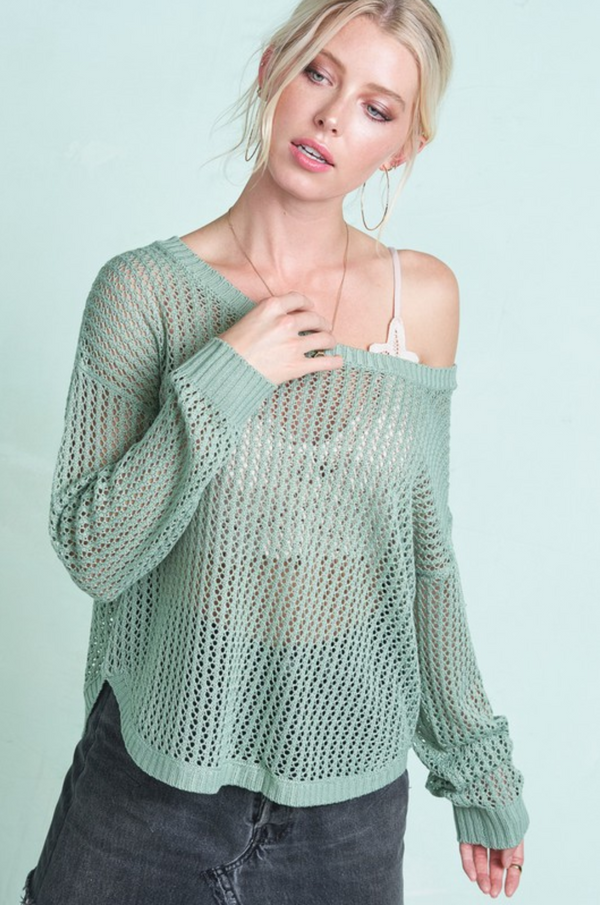 Criss Cross Back Lightweight Sweater - S / SAGE ShopatGrace.com