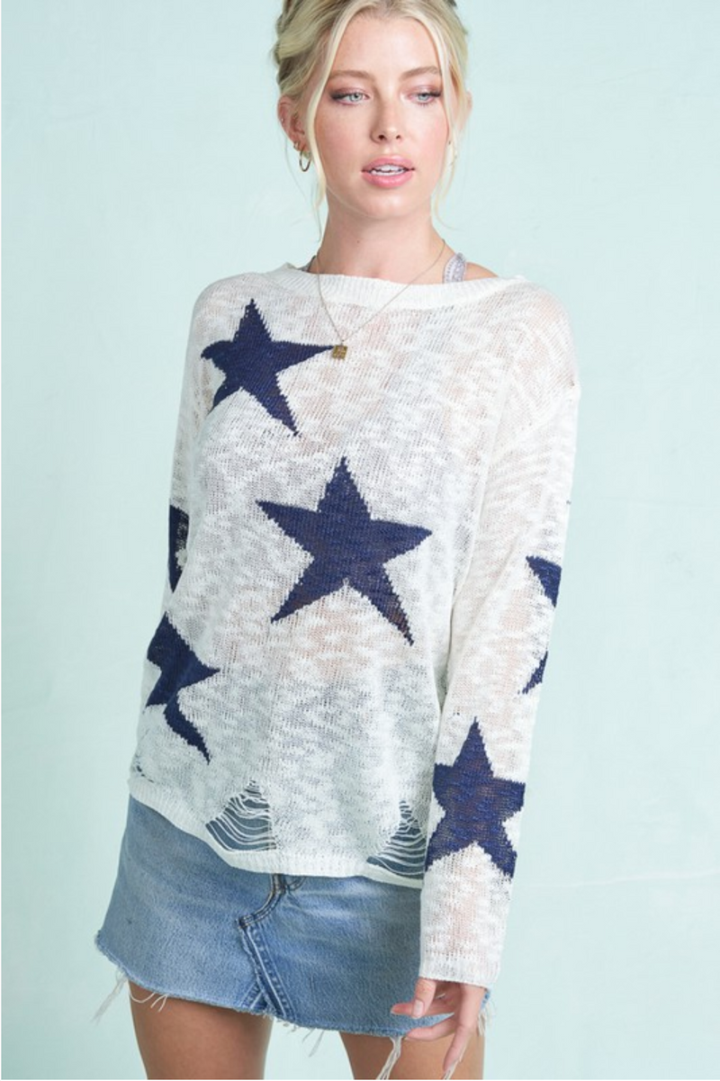 Star Print Distressed Sweater -  ShopatGrace.com