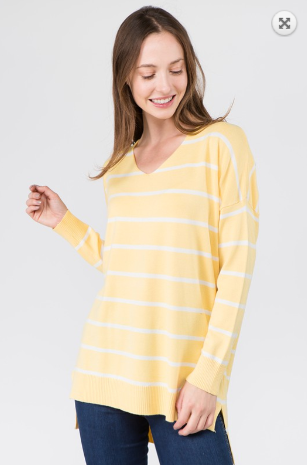 Stripe Cozy Sweater - S/M / Yellow ShopatGrace.com