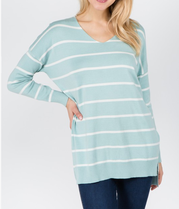 Stripe Cozy Sweater - S/M / Blue ShopatGrace.com