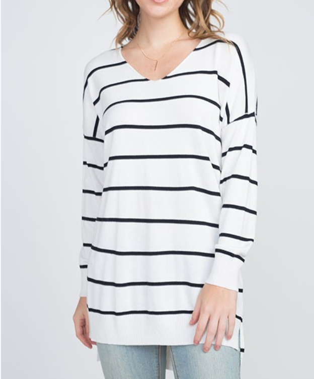Stripe Cozy Sweater - S/M / White ShopatGrace.com