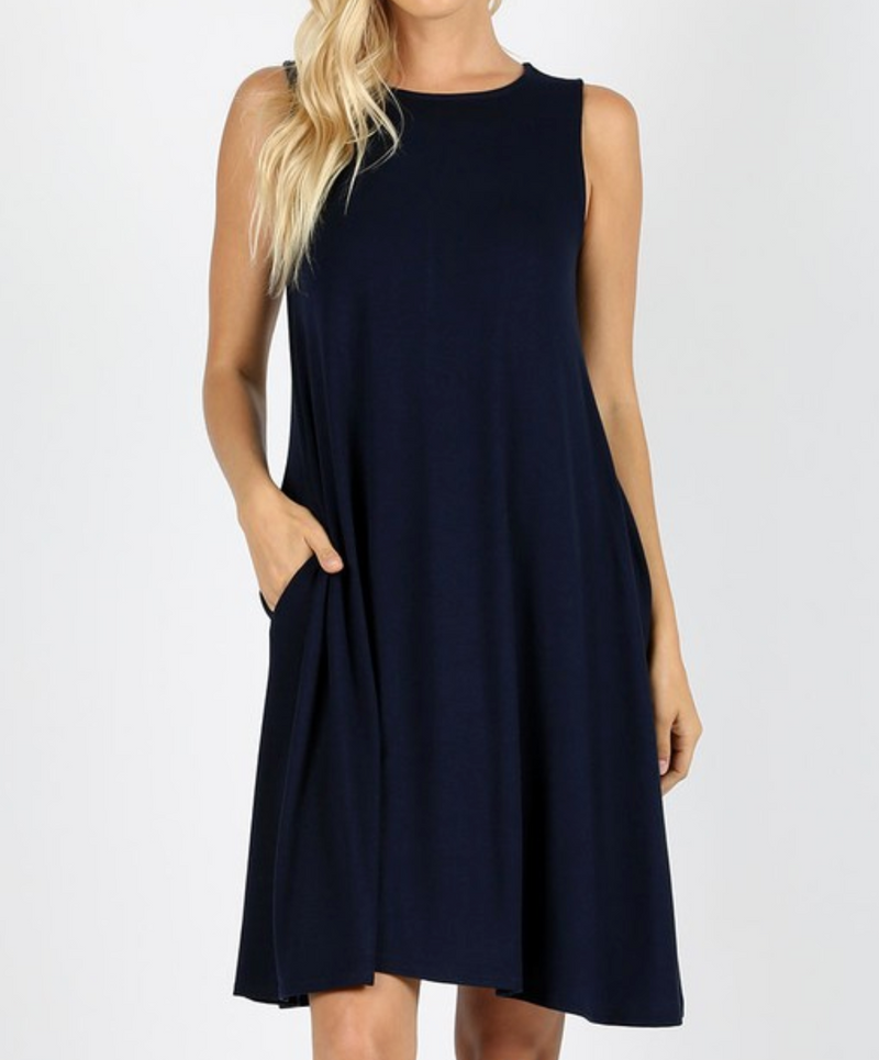 Sleeveless Dress with Straight Hem - MIDNIGHT Navy / S ShopatGrace.com